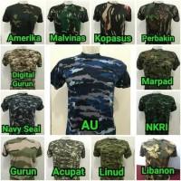 Baju Pria - Baju Kaos Loreng - Kaos Army Militer - Baju Kaos Tni