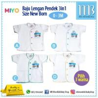 MIYO 3in1 Baju Bayi Lengan Pendek Putih Lis Warna New Born 0 - 3 Bulan