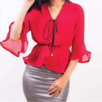 Baju Atasan Wanita Vneck Tangan Lonceng Bawah Gelombang IMPORT READY