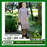 Kebaya Brukat Kurung Baju Tunik Brukat Rok Instans Plisket - Grey