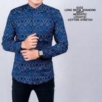 Baju Kemeja Batik Lengan Panjang Pria Motif Songket Biru Navy Slimfit