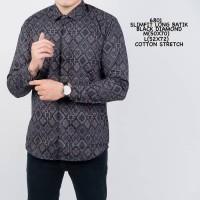 Baju Kemeja Batik Lengan Panjang Pria Motif Songket Hitam Slimfit