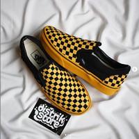 SEPATU Vans Slipon Black Yellow California Dept Checkerboard