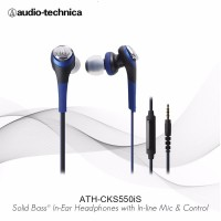 Audio Technica Solid Bass In Ear Headphones ATH CKS550iS BL EX Biru