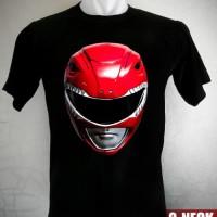 Kaos Power Rangers Red Ranger Mask Ukuran S sd XL