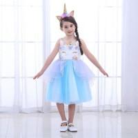 BAJUKIDDIE UNICORN DIAMOND DRESS BLUE . dress anak kuda poni gaun baju
