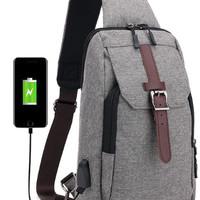 Tas Pria Waist Bag Tas Selempang Kanvas USB BG018