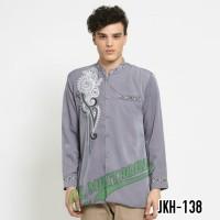 Fashion Muslim Pria Baju Koko Jasko Jas Koko Abu Baru Jas Nikah JKH138 - Abu -abu Tua, L