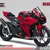 Modifikasi Decal Graphic Sticker Honda CBR250RR Merah Deadpool
