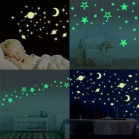 Hiasan Dinding Glow In The Dark Bintang Bulan Sticker Gambar Kamar