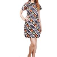 Fazilah Dress batik pendek Cheongsam wanita jumbo Fit to XL