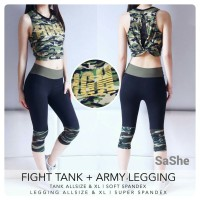 Fight Tank + Army Legging Setelan Baju Celana Olahraga Senam Wanita
