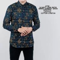 Baju Kemeja Batik Songket Lengan Panjang Pria Hijau Motif Slimfit