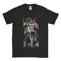 Baju Kaos Band Bob Marley Love - Hitam, L