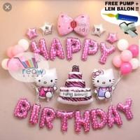 Paket Dekorasi Balon Ulang Tahun / Happy Birthday Tema Hello Kitty