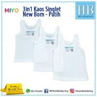 MIYO - 3in1 Kaos Singlet Dalam Anak Bayi WARNA PUTIH Size NEW BORN