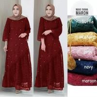 brukat lace maxi gamis dress baju muslim pesta maxy pernikahan seragam