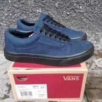 Sepatu Vans Old Skool Dress Blue Black Premium BNIB Sneakers Wanita
