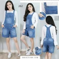 Baju Jumpsuit Overall Celana Kodok Pendek Jeans Lentur Super Jumbo 5XL
