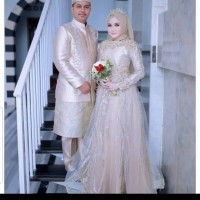 gaun pengantin hijab, jas pengantin muslim /baju koko pengantin