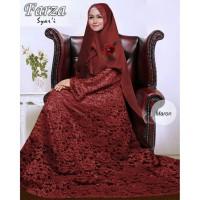 Baju Busan Muslim Wanita Gamis Syari Pesta Brukat Farza Crepe Terbaru