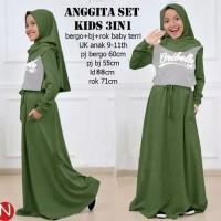 setelan baju kaos anak anak santai muslim blouse tunik rok maxi maxy