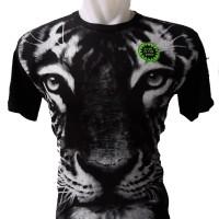 Kaos Baju 3D Glow in the dark Macan Putih White Tiger Tshirt Rhymes