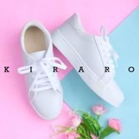 KIRARO Sepatu Sneakers Kets Wanita Hitam Putih Polos Casual KSCR11