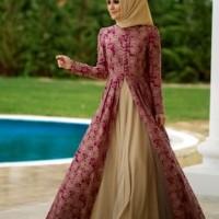 baju gamis lurusan panjang cewek baju pengantin motif bunga