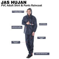Jas Hujan Setelan/Baju Celana/Raincoat Pria Wanita PVC