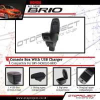 Console Box Armrest Tengah Hitam dengan USB All New Brio 2018