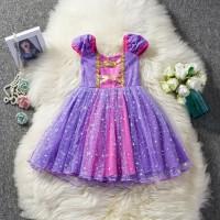Baju kostum gaun anak halloween tangled dress RAPUNZEL COSTUME PRINCES