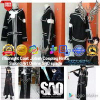 Cosplay Anime Midnight Coat Jubah Kirito Sword Art Online SAO Beater