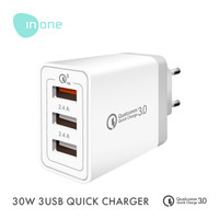 INONE USB Adapter 3 Port QC 3 A Fast Charging High Quality TANPA KABEL