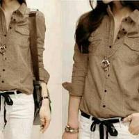 Baju Kemeja Wanita Lollie - Cokelat Muda