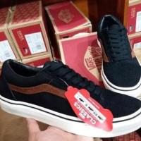 Sepatu Vans Old Skool Hitam List Coklat Murah