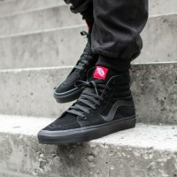 Sepatu Casual Vans Sk8-Hi Classic Suede Black/Black Original 100% BNIB