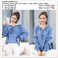 Baju Atasan Wanita Sabrina Blouse Korea Import AB435943 Blue Biru