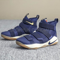 Sepatu Casual Safety Nike Lebron James 11 Soldier Navy Blue Perfect K