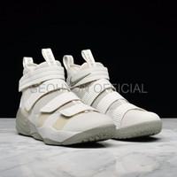 Sepatu Casual Safety Nike Lebron James 11 Soldier Light Bone Perfect Q