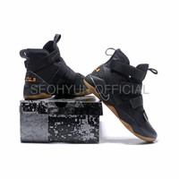 Sepatu Casual Safety Nike Lebron James 11 Soldier Black Gum Perfect K