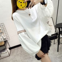 Baju Kaos Lengan Panjang Wanita White Loose Sleeve (L) Import Original