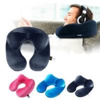 Bantal Leher Tiup Penyangga Kepala Pillow Inflatable Neck Travel - Biru Muda