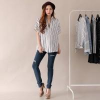 DERBAK TOPS ATS-006 Scuba Salur Stretch Fashion Wanita Reverid - Navy