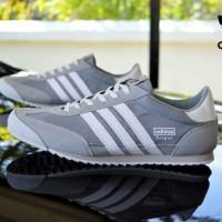 sepatu casual sneakers pria adidas dragon abu list putih murah