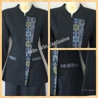 Setelan Blazer Baju Kerja Kantor Wanita Biru Dongker