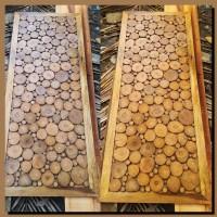 Hiasan dinding kayu teak wood wall art decor wallpaper dinding
