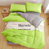 Marvelo Bedcover Sprei Set Katun Polos Warna Hijau Abu Double Bed 120