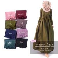 Longdress Maxi Katun Linen Baju Gamis Wanita Polos WINGS