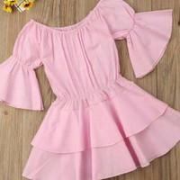 Dress Anak Sabrina Import Pink / Baju Anak Perempuan Pundak Terbuka
